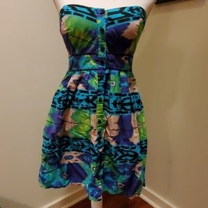 Xhilaration Strapless Patterned Dress w/ Pockets